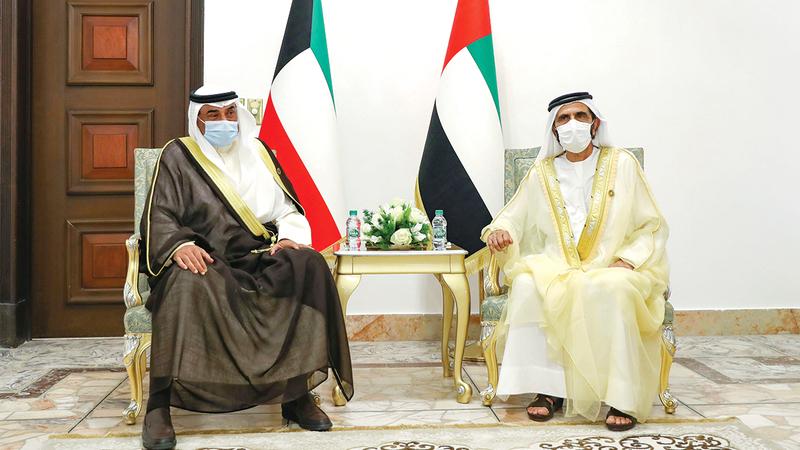 محمد بن راشد خلال لقائه رئيس مجلس الوزراء بدولة الكويت الشقيقة.  وام