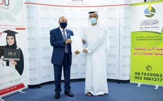 الصورة: «دار البر» تدعم طلبة في جامعة  أم القيوين بـ 200 ألف درهم