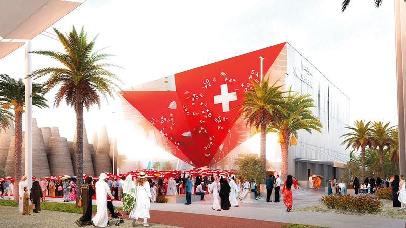الجناح السويسري قائم على نموذج الشراكة بين القطاعين العام والخاص. من المصدر