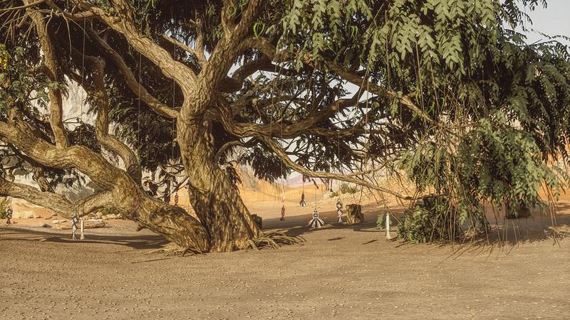 فضاء المنصّة يمثّل مشهداً واقعياً من صحراء الشارقة.  من المصدر