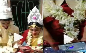"""الصورة: العروس والعريس تركوا حفل زفافهما للعب """"Free Fire"""".. فيديو"""