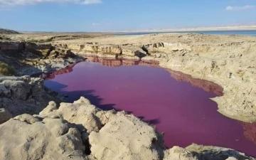 الصورة: الأردن.. مياه حمراء اللون «غامضة» قرب البحر الميت