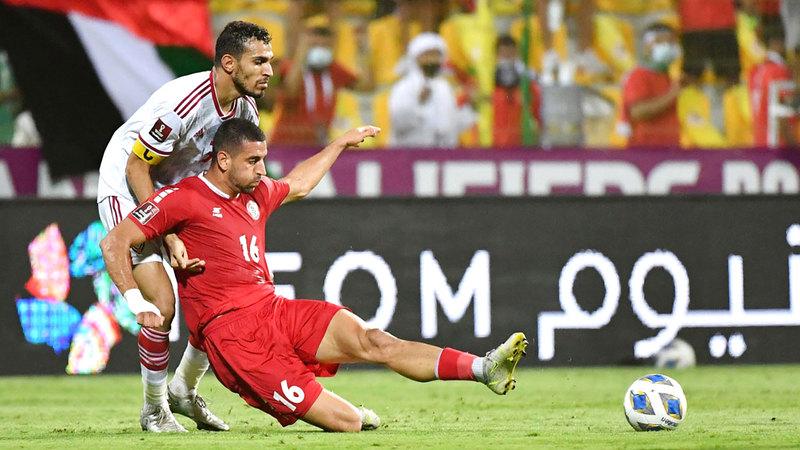 المنتخب تعادل مع ضيفه اللبناني سلباً في الجولة الأولى من تصفيات المونديال.  تصوير: أسامة أبوغانم