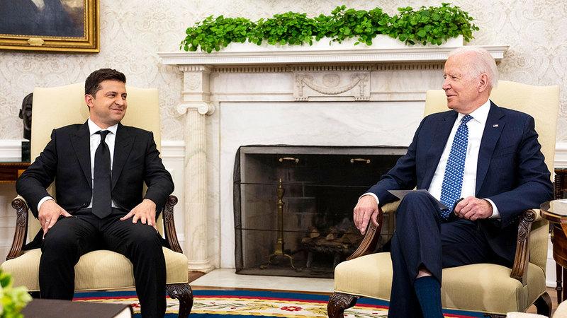 القمة بين الرئيسين الأوكراني والأميركي أكدت الشراكة بين البلدين.  غيتي