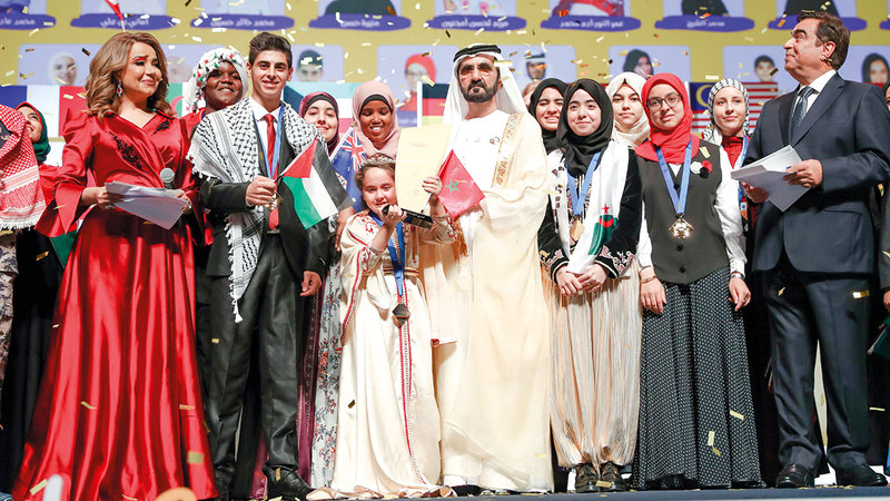 الحفل الختامي يشكل المحطة الأخيرة في كل دورة من «تحدي القراءة العربي».  أرشيفية
