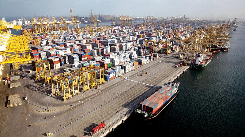 الصادرات حققت نمواً لافتاً بنسبة 45% لتصل قيمتها إلى 109.8 مليارات درهم. أرشيفية