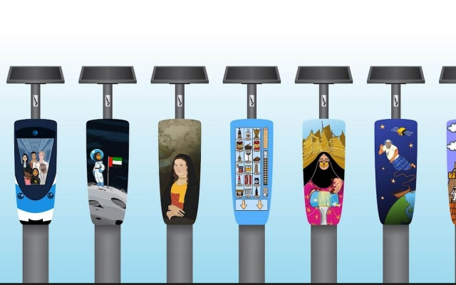 الصورة: أجهزة مواقف السيارات في دبي تتحوّل إلى أعمال فنية