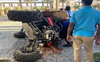 الصورة: إصابة بشرى في حادث سير خلال تصوير برنامج ونقلها للمستشفى