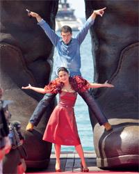 أنطونيو بانديرايس و سلمى حايك خلال الترويج لفيلمهما الجديد .  غيتي