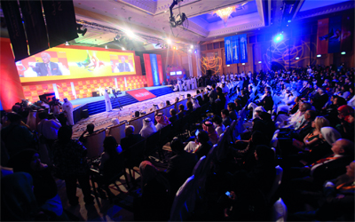 الحضور يتابعون إحدى جلسات «المنتدى».      تصوير:باتريك كاستيلو