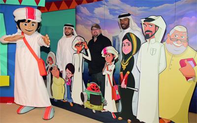 فريق «منصور» (من اليمين) حيدر محمد وستو غامبل وراشد الهرمودي. من المصدر