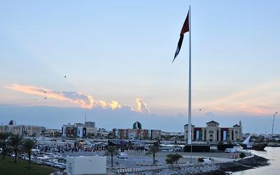 منظر عام لجزيرة العلم بعد رفع علم دولة الإمارات على سابع أعلى سارية بالعالم
