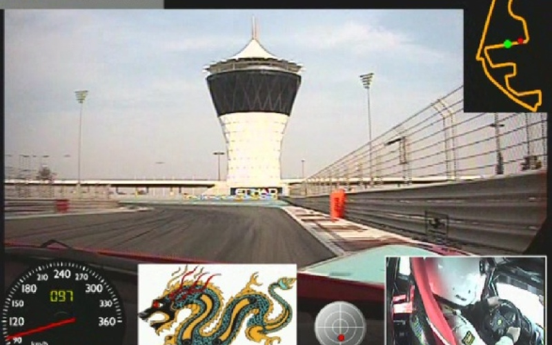 """الصورة: بالفيديو..""""الإمارات اليوم"""" تختبر سيارات فريق دراغون رايسنغ على حلبة مرسى ياس"""
