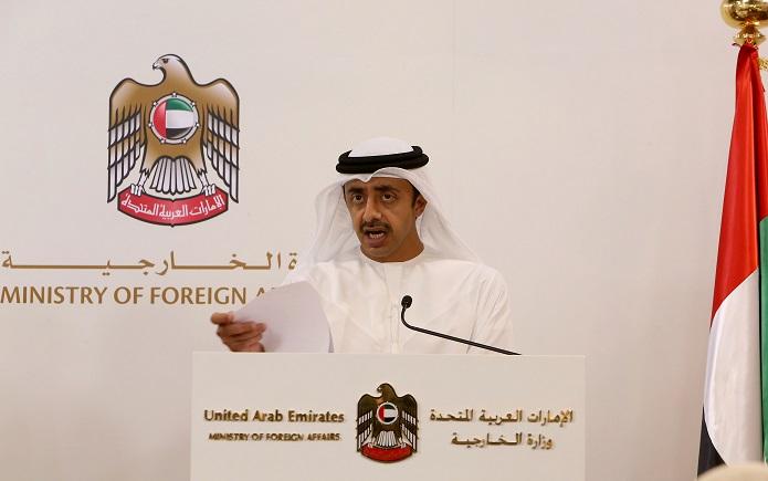 عبدالله بن زايد في مؤتمر مع نظيره اليمني: لا يمكن القبول بأي خطر استراتيجي يهدد أمن دول الخليج
