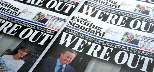 خروج بريطانيا من الاتحاد الأوروبي تصدّر عناوين الصحف في لندن. أ.ف.ب