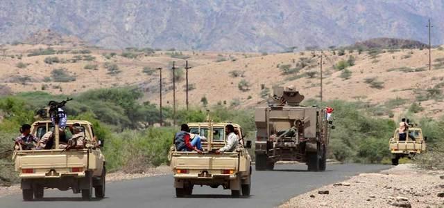 مقاتلون من قوات الشرعية في منطقة كرش في محافظة لحج. أ.ف.ب