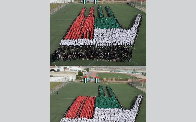 الصورة: شاهد.. لوحة بشرية تجسد الإشارة الثلاثية لحاكم دبي