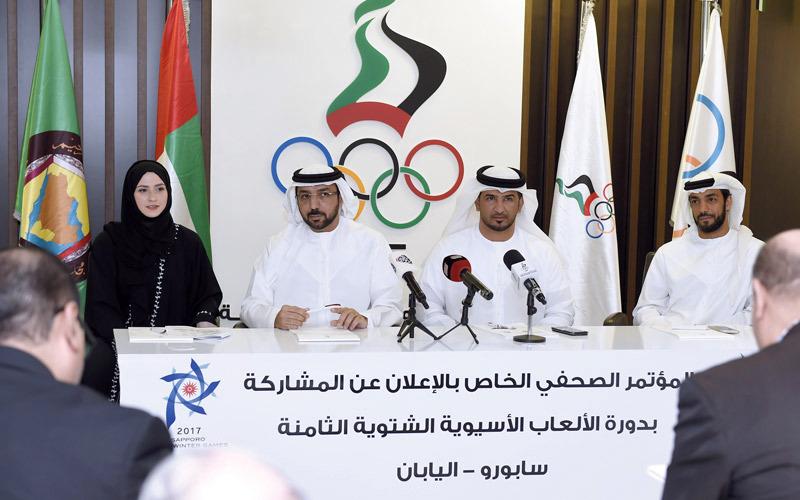 القبيسي والطيب والشامسي وزهرة لاري خلال المؤتمر الصحافي أمس. من المصدر