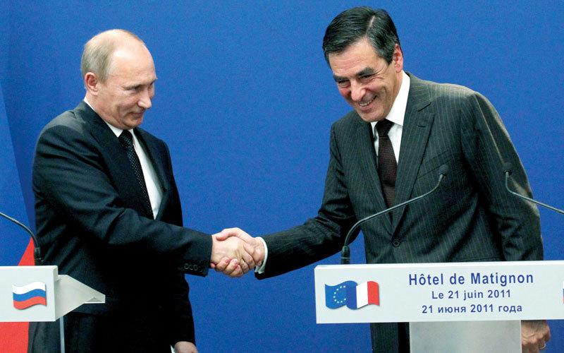 فرانسوا فيون في لقاء مع الرئيس الروسي. أرشيفية