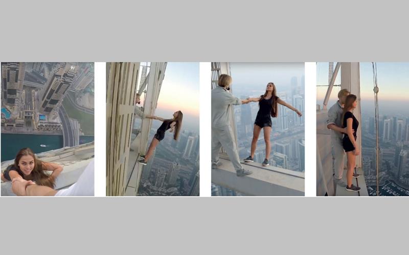 لقطات توضح تسلسل «الحركات الانتحارية» لأودينتكوفا على قمة برج في منطقة المارينا يبلغ ارتفاعه 1004 أقدام. الإمارات اليوم
