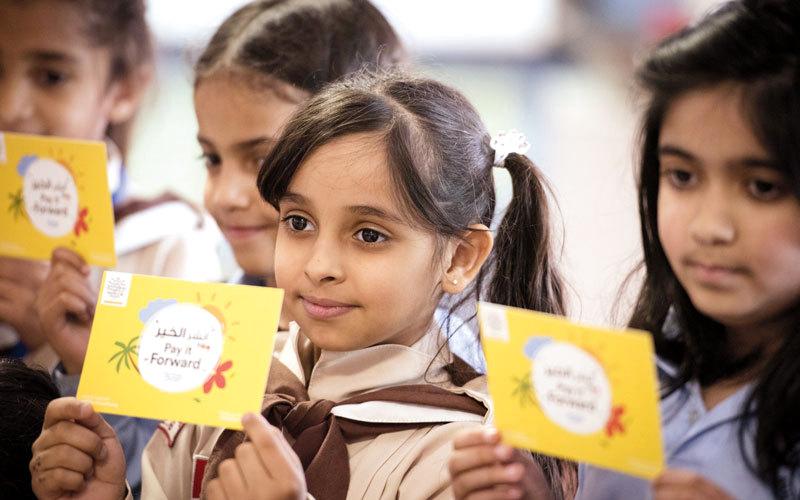 مبادرة «100 يوم من العطاء» تستهدف جميع طلبة المدارس الحكومية والخاصة في دولة الإمارات. من المصدر