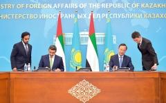 عبدالله بن زايد يوقّع مع نظيره الكازاخستاني تعديل بروتوكول الإعفاء المتبادل من تأشيرة الدخول