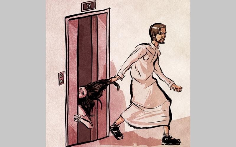 موظف يطرد صديقته من الشقة عارية